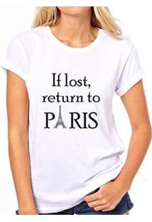 Camiseta Coolest If Lost Return To Paris Feminina - Feminino-Branco