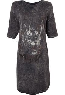 Camiseta John John Oversized Tiger Smooth Feminina (Cinza Escuro, Pp)