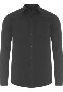 Camisa Masculina Twill And Rib - Preto