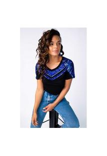 T-Shirt Joulik Bordada Zínia - Azul