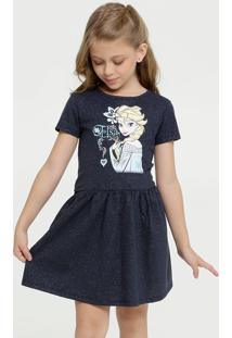 Vestido Infantil Estampa Frozen Manga Curta Disney