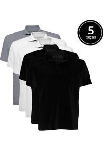Kit De 5 Camisas Polo Masculinas De Várias Cores P