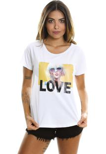 Camiseta Estonada Le Julie Estampa Love Branca