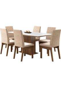 Sala De Jantar Madesa Cecília Mesa Tampo De Madeira Com 6 Cadeiras Branca/Bege