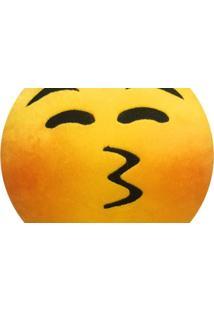 Almofada Capital Do Enxoval Emoji Fazendo Bico, Envergonhado De Olhos Fechado Estampado
