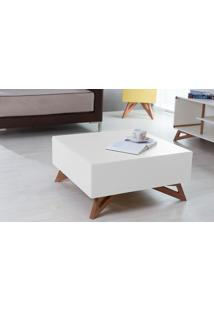Mesa De Centro Quadrada Colorida Branca 70X70 Design Moderno E Retrô Freddie - 70,6X70,6X33,7 Cm