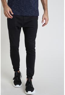 Calça Masculina Bbb Básica Relaxed Em Moletom Com Cordão E Bolsos Preta