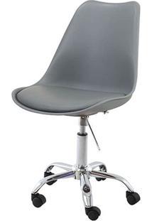 Cadeira Saarinen Assento Em Polipropileno Cor Cinza Com Base Cromada - 45064 - Sun House