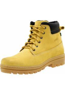 Bota Adventure Em Couro Atron Shoes Amarelo