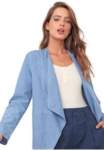 Jaqueta Jeans Mercatto Assimétrico Azul
