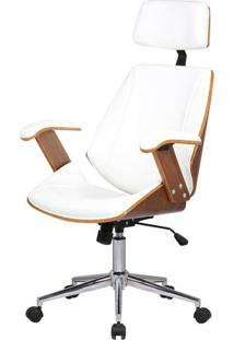 Cadeira Office Lisboa Pu Branco Base Cromada - 34443 - Sun House