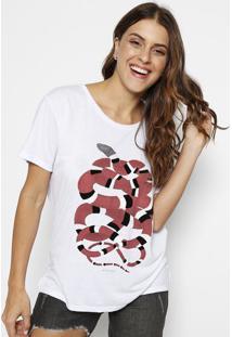 "Camiseta ""Cobra"" - Branca & Vermelha- M. Officerm. Officer"