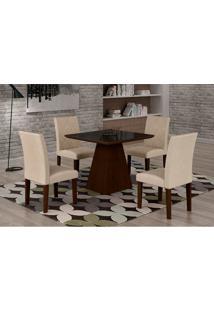 Conjunto De Mesa De Jantar Luna Com 4 Cadeiras Ane Iii Veludo Castor, Preto E Creme
