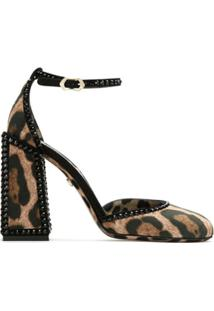 Dolce & Gabbana Sapato Salto Bloco Animal Print - Preto
