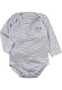 Body De Bebê Manga Longa Listrado Branco Com Bordadinho