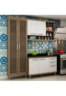 Cozinha Compacta New Vitoria 10 Avelã Tx/Bianco - Hecol