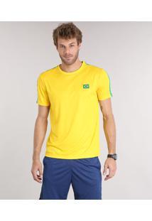 555a214b84fd0 Camiseta Masculina Esportiva Ace Brasil Manga Curta Gola Careca Amarela ir  para a loja