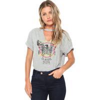 46da21ece Camiseta Guess Choker Estampada Cinza