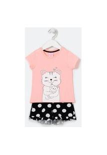 Pijama Infantil Curto Estampa Gatinhos Mãe E Filho - Tam 1 A 4 Anos