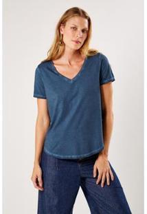 T-Shirt Malha Básica Indigo Sacada Feminina - Feminino-Azul