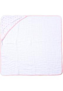 Toalha De Banho Papi Soft Com Capuz- Branca & Rosa- Papi