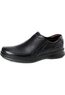 Sapato Conforto Couro Elástico Masculino - Masculino-Preto