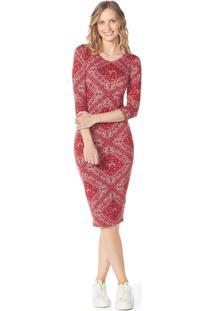 Vestido Lecimar Em Viscose Com Elastano Outono Inverno Manga Longa Vermelho Escuro - Tricae