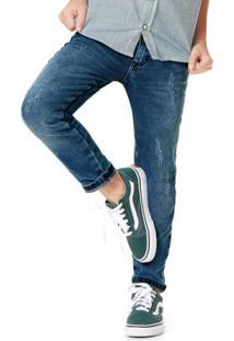 Calça Azul Escuro Skinny Estonada Jeans