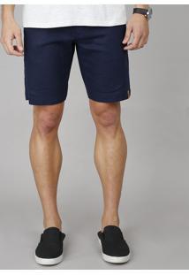 Bermuda Masculina Slim Alfaiatada Em Linho Azul Marinho