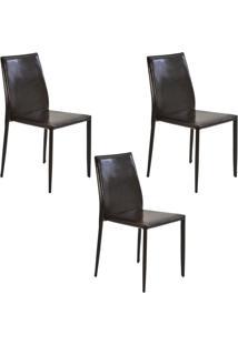 Kit 3 Cadeiras Decorativas Sala E Cozinha Karma Pvc Marrom Crocco - Gran Belo - Marrom - Dafiti