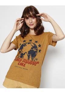"Camiseta ""World Famous""- Amarelo Escuro & Azul Marinho"