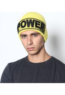"""Gorro """"Power"""" Em Lã - Amarelo & Preto - 46Cmversace"""