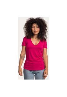 Camiseta Decote V Em Modal Rosa Pink