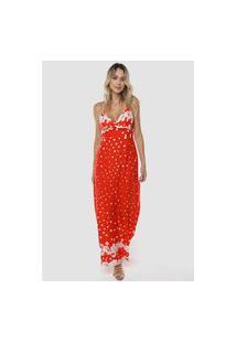 Vestido Longo Estampado Floral E Bolinhas Viscose Sob Vermelho