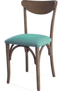 Cadeira Para Sala De Jantar Estofada Amélie - Stain Nogueira - Tec.950 Azul Turquesa - 44,5X45X81 Cm