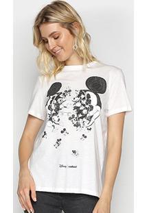 Camiseta Colcci Básica Mickey Feminina - Feminino-Areia