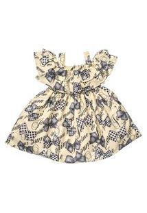 Vestido Infantil Estampado De Lacinhos Com Bordado De Pérolas - Anjos Baby Chic Amarelo