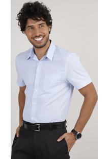 Camisa Masculina Social Comfort Com Bolso Manga Curta Azul Claro