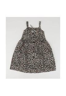 Vestido Infantil Estampado Animal Print Onça Alça Fina Bege