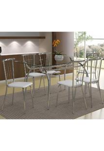 Mesa 379 Com Vidro Incolor Cromada Com 6 Cadeiras 154 Branca Carraro