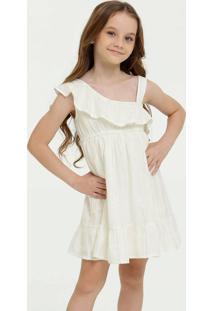 Vestido Infantil Brilho Babado Sem Manga Marisa
