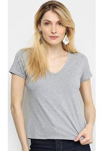 Camiseta Cavalera Gola V Feminina - Feminino-Mescla