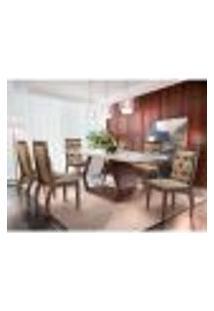 Conjunto De Mesa De Jantar Alvorada Com Vidro 6 Cadeiras Tamara Suede Chocolate E Off White
