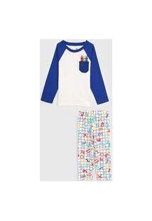 Pijama Brandili Longo Infantil Giz Branco/Azul