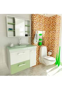 Conjunto Para Banheiro Vetro Branco E Verde