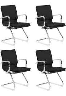 Conjunto Com 4 Cadeiras De Escritório Interlocutor Fixas Eames Comfort Preto