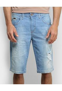 Bermuda Jeans Forum Delavê Destroyed Masculina - Masculino-Azul