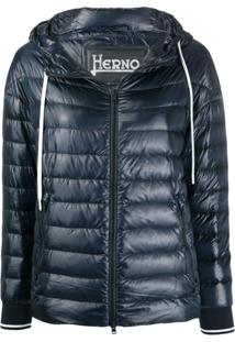 Herno Hooded Quilted-Down Jacket - Azul