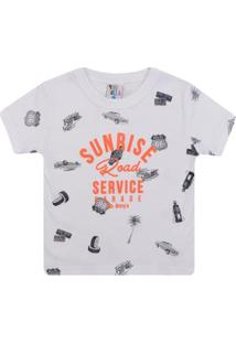 Camiseta Infantil Pulla Bulla Service Garage Masculina - Masculino-Branco