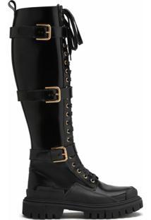Dolce & Gabbana Bota Cano Médio Com Cadarço - Preto